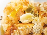 Пиле с карфиол и топено сирене на фурна